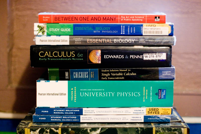 My fall 2008 textbooks